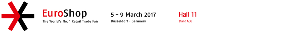 Meet us at EuroShop 2017, Hall 11, stand A56. Save the date: 5-9.3.2017, Dusseldorf.