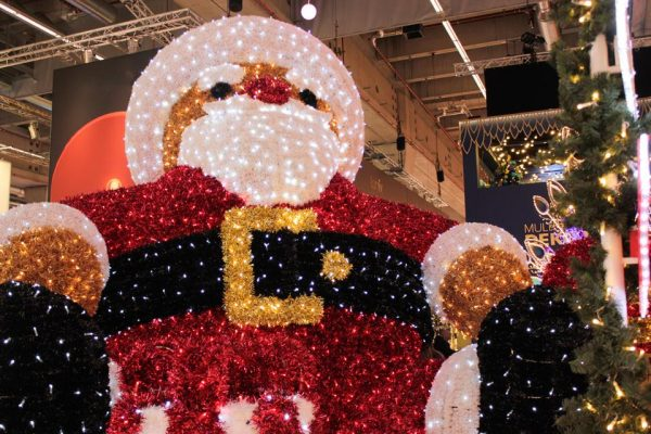 A giant 3D Santa with a cartoon design.